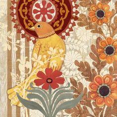 Santa Fe Birds-Yellow by Jennifer Brinley Bird Illustration, Fantasy Illustration, Illustrations, Bird Quilt, Decoupage Vintage, Bottle Painting, Bird Design, Little Birds, Vintage Wall Art