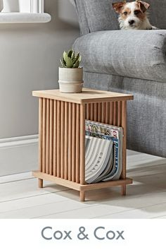 With the white oak finish characteristic of Scandinavian pieces, our Magazine Side Table marries function and form effortlessly in its design. A contemporary side table complete with feature solid oak spindles to contain all of your favourite magazines. Side Table Decor, Side Table With Storage, Wooden Side Table, Sofa Side Table, Small Side Tables, Bed Side Table Ideas, Narrow Side Table, Side Tables Bedroom, Oak Table