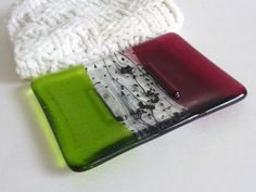 Spring Green and Cranberry Fused Glass Soap Dish