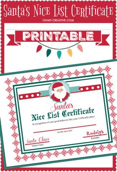 Santa's Nice List Certificate Printable for the kids! Signed by Santa and Rudolph - adorable Christmas Printable!  |  OHMY-CREATIVE.COM