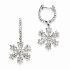 Roxx Fine Jewelry Ct Diamond Snowflake Earrings White Gold 33 X White Gold Diamond Earrings, Diamond Hoop Earrings, White Earrings, White Gold Diamonds, Natural Diamonds, Dangle Earrings, Snowflake Jewelry, White Gold Hoops, New Jewellery Design