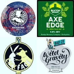 On Tap: Faith - 5.4% Pale Ale @northernmonkbrewco Axe Edge - 6.8% IPA @buxtonbrewery  Lick Face - 4% Pale Ale @madhatterbrewing Wild Gravity - 5.2% IPA @badcobrewinganddistilling