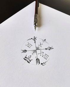 Peca montada para tatuagem da cliente @cpalbuquerque usando latitude e longitude como referência disposta ao longo da flecha com elementos ornamentais... Arte registrada. Orçamento pelo siteWww.kefonascimento.com.br