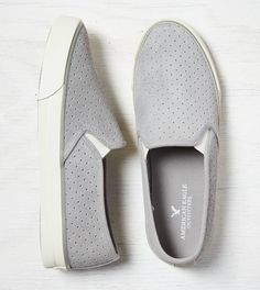 Grey AEO Perforated Slip-on Suede Sneaker