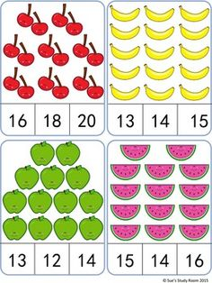 Fruit Count and Clip Cards: Numbers by Sue's Study Room Kindergarten Math Worksheets, Preschool Learning Activities, Teaching Math, Preschool Activities, Math Sheets, English Worksheets For Kids, Kids Worksheets, Montessori Math, Numbers Preschool