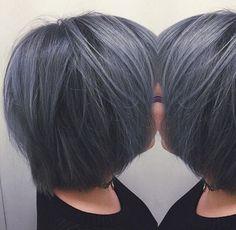 Amazing dark grey bob