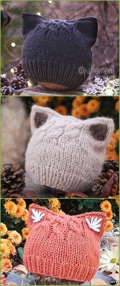 Baby Knitting Patterns Knit Simple Kitten or Fox Ears Beanie Paid Pattern - Fun Kit...