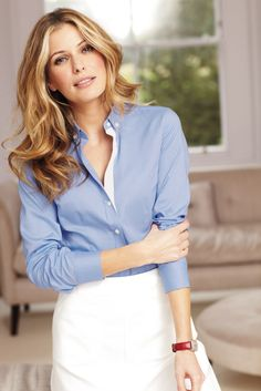 The perfect weekend piece, this women's blue Oxford shirt will withstand anything you decide to do on your days off.