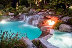 Inground swimming pool firepit and waterfalls
