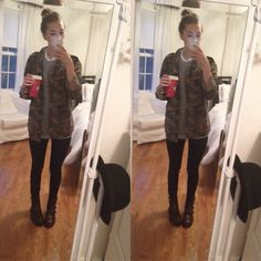 outfit today! topshop jeans and camo jacket, american apparel tshirt, urban outfitters deezy & ozzy boots c: hope you have a good day x