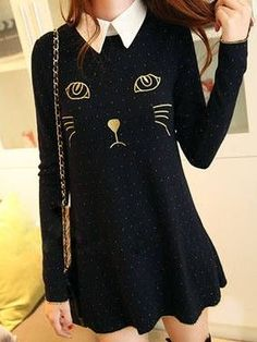 Charming Girls Cat Embroidery Turn Collar Long Sleeve Dress
