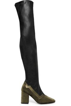 MR by Man Repeller - The I'm Really Here To Party Leather And Embossed Velvet Over-the-knee Boots - Black - IT