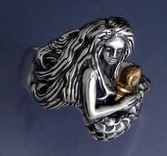Mermaid and Shell Ring  Sterling and 14k by SheppardHillDesigns, $117.00