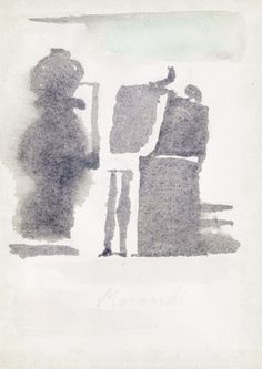 Giorgio Morandi-This artwork looks like a shadow, with no color, and is very simple Art Et Illustration, Italian Painters, Art Moderne, Paintings I Love, Watercolor And Ink, Oeuvre D'art, Painting & Drawing, Modern Art, Abstract Art