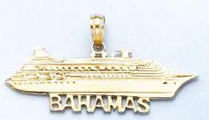 Amazon.com: Gold Nautical Travel Charm Pendant Bahamas Under Cruise Ship High Polish& Flat: Million Charms: Jewelry
