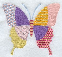 PATCHWORK+BUTTERFLY+Machine+Embroidered+Quilt+by+AzEmbroideryBarn,+$14.95