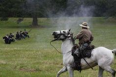 Civil War reenactment of cavalry