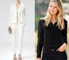 Cara Delevingne's Reverse Black-and-White Pantsuit Reiss Fontez tailored cream jacket, $465, reiss.com  Reiss Paris slim-leg trousers cream, $230, reiss.com  Victoria's Secret the silk shirt, $88 to $98, victoriassecret.com