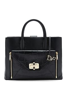 DVF Secret Agent Large Leather and Croc Tote