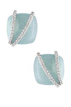 14K White Gold Milky Aquamarine & Diamond Overlay Earrings