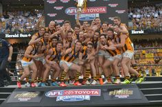 The celebrations. Hawthorn victorious by 46 points over West Coast Eagles. West Coast Eagles, Hawks, Celebrations, Football, Club, Baseball Cards, Sports, Falcons, Hs Sports