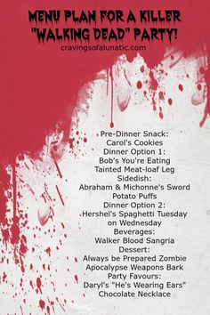 Menu Plan for a Killer Walking Dead Party! Dead Eats- Recipes Inspired by The Walking Dead! Giveaway for One Complete Set of The Walking Dead DVD's, Season 1 to 5!! Swing by cravingsofalunatic.com to enter.