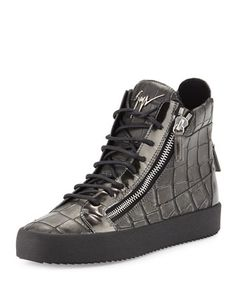 Men\'s Crocodile-Embossed Leather High-Top Sneaker, Pewter by Giuseppe Zanotti at Neiman Marcus.