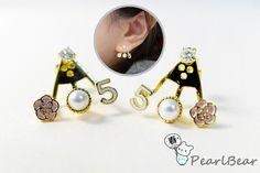 New Style Earrings 韓製新品‧傘狀 耳後浪漫風水鑽 組合式耳環(共二款)