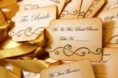 Vintage Inspired Escort Card Tag  -  Scroll - Your Choice of Ribbon Color. $2.00, via Etsy.