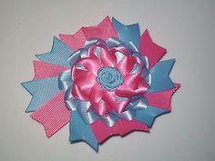 "Baby-Toddler-Girl 4.5"" Swallowtail Nest hair bows Clip Rose Alligator clip 5-26"