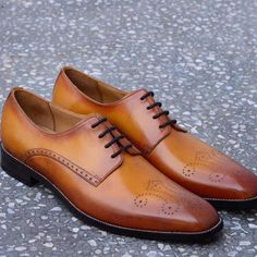 Handmade Tan Oxford Leather Shoes, Brogue Dress Shoes Formal Office Shoes Men's #Handmade #Oxfords #Formal