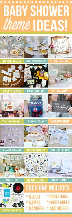 """16 Themed Baby Shower Printable Packs - All set and ready for your use! Plus a free """"What's in your Purse?"""" Game Printable"""