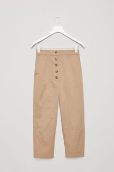COS image 2 of Buttoned drop-crotch trousers in Khaki Beige