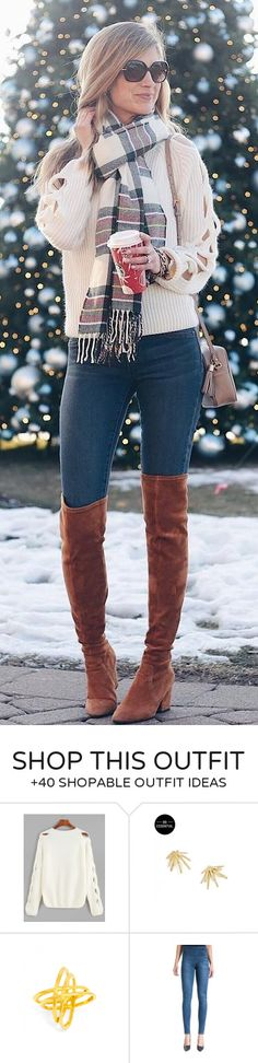 #winter #fashion / White Knit / Black Skinny Jeans / Brown OTK Boots / Printed Scarf