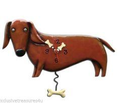Allen Designs Pendulum Clock - Oscar the Daschund Dog