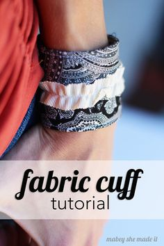 Simple and easy fabric cuff tutorial. They only take a few minutes and are so cute! Fabric Bracelets, Fabric Jewelry, Cuff Bracelets, Cuff Jewelry, Jewellery, Fabric Beads, Diy Jewelry, Sewing Hacks, Sewing Tutorials