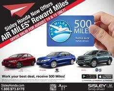 Sisley Honda Now Offers AIR MILES® Reward Miles