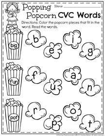FREE CVC Words Worksheet for Kindergarten - Color the letters that go in the word.