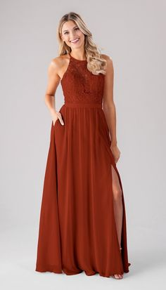 If you're looking for the perfect fall bridesmaid dresses, you'll love this color.  The Melanie bridesmaid dress by Kennedy Blue is available in this Cinnamon color, as well as more! Burnt Orange Bridesmaid Dresses, Affordable Bridesmaid Dresses, Lace Bridesmaids, Wedding Dresses, Bridesmaid Gowns, Chiffon Skirt, Chiffon Fabric, Beaded Gown, Fall Dresses