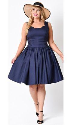 Unique Vintage Plus Size Navy Roman Holiday Scalloped Retro Flare Dress