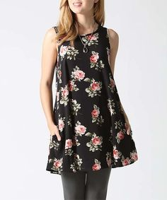 Look what I found on #zulily! Black & Pink Floral Pocket Sleeveless Tunic #zulilyfinds