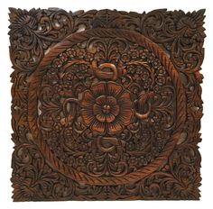 "Oriental Hand Carved Wood Wall Plaques. Asian Wood Carving. Wall Sculptures. Large Wood Wall Hangings. Floral Design. Rustic Wall Decor. 24""x24""x0.5"" Available in Dark Brown and Black Wash"