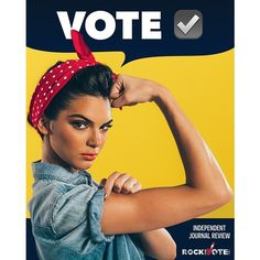 Kendall Jenner dresses up as feminist icon Rosie the Riveter for the latest Rock the Vote campaign, which aims to inspire women to participate in the upcoming presidential election. Diy Makeup Organizer, Makeup Organization, Wall Organization, Kris Jenner, Kardashian Jenner, Kardashian Style, Vestido Kendall Jenner, Lauren Conrad, Rosie The Riveter Costume