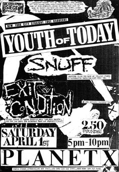 YOUTH OF TODAY / SNUFF  APRIL 1989