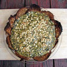 Chard And Artichoke Tart With Crispy Eggplant Crust