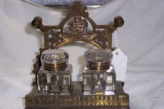 double glass inkwells on a brass stand. 1880-1890. from my collection