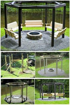 DIY Swings Around a Campfire For Your backyard - 110 DIY Backyard Ideas to Try Out This Spring & Summer - DIY & Crafts