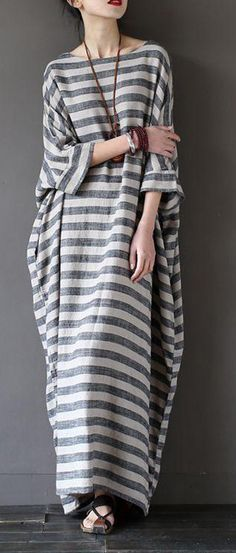 Fashion Stripe Loose Big Size Maxi Size Dresses Plus Sizes Women Clothes 59e1ccad4d3f