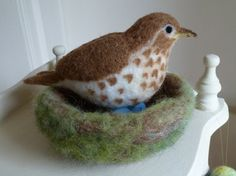 needle felted bird song thrush by RosieNelsonCrafts on Etsy, £30.00
