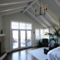 vaulted ceiling   traditional bedroom by Taylor Lombardo Architects